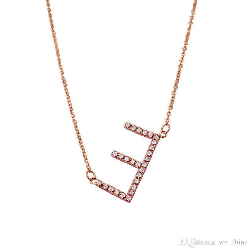 قلادة ذهبية الأبجدية للنساء A-Z إلكتروني كريستال قلادة الاسم الأولي مجوهرات تمهيد زركونيا أنثى monogram القلائد