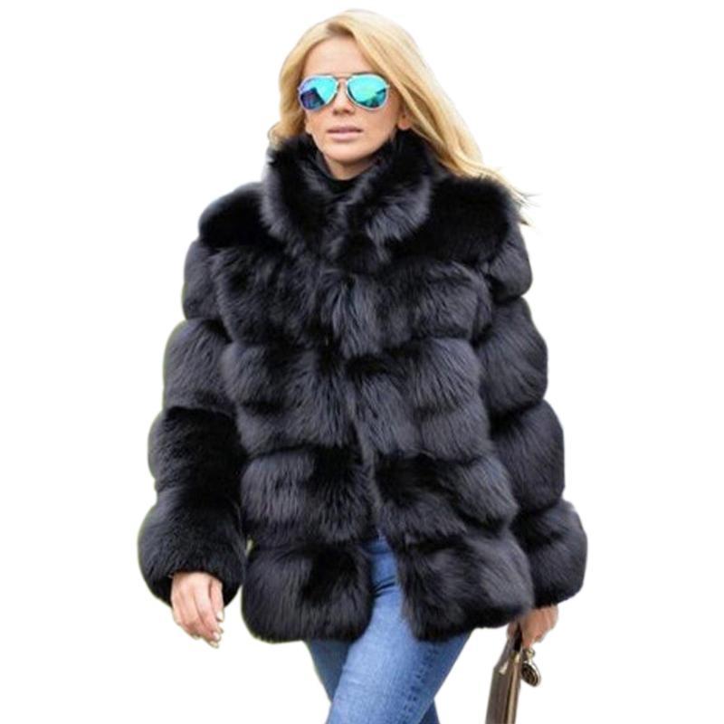 2018 New Arrival Winter Thick Black Coat Women Faux  Fur Coat Women Stand Collar Long Sleeve Faux Fur Jacket Outerwear PC312