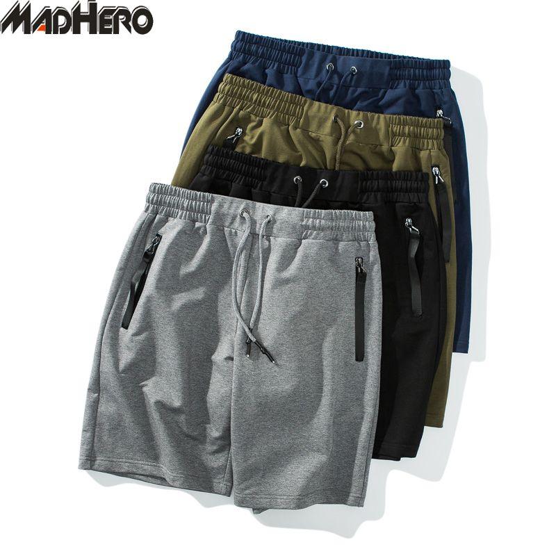 MADHERO 2019 Man For Cepler Pamuk İpli Şort Yaz Katı Artı boyutu M-5XL Kısa Pantolon ile Marka Giyim Erkek Şort
