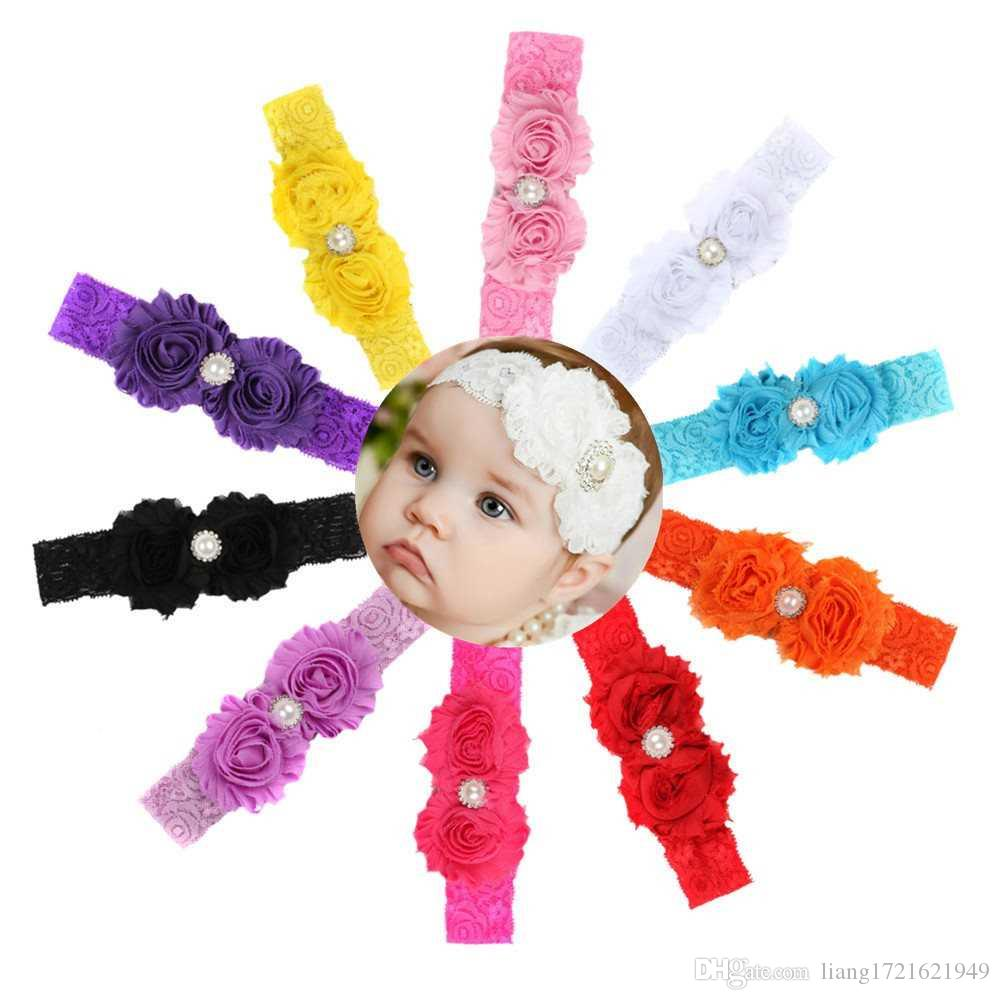 Großhandelshaarband der neuen europäischen und amerikanischen Kinder mit 10 Farben Spitzebreitband-Chiffon- Blumengurt mit Stirnband der Haarband Kinder