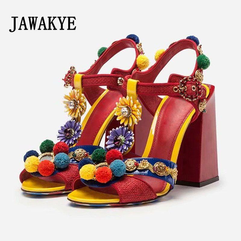Zapatos de vestir Pista Bohemia Rojo Pom-Pom Sandalias Mujeres Chunky Bock Tacones Altos Tacones de verano T Cordero Flor Fiesta Mujer Boda Sandalia