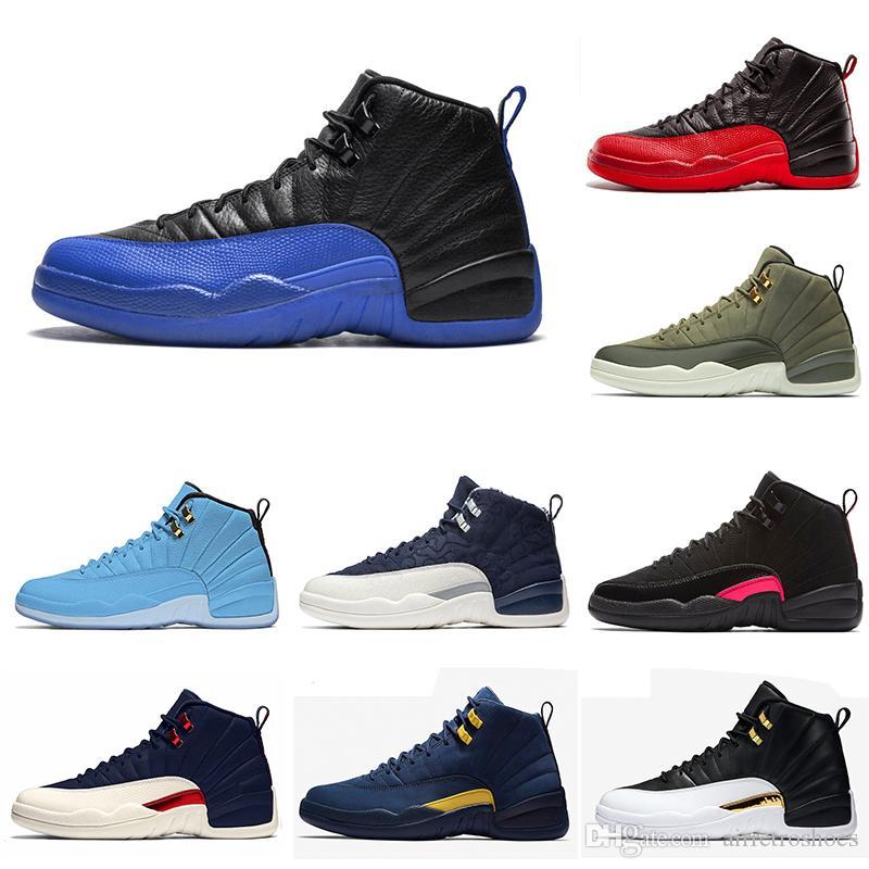 12 12s chaussures de basketball 2019 FIBA Jeu Royal Winterized Gym rouge jeu de la grippe rouge GAMMA BLUE le maître pour hommes Sports Sneakers taille 8-13