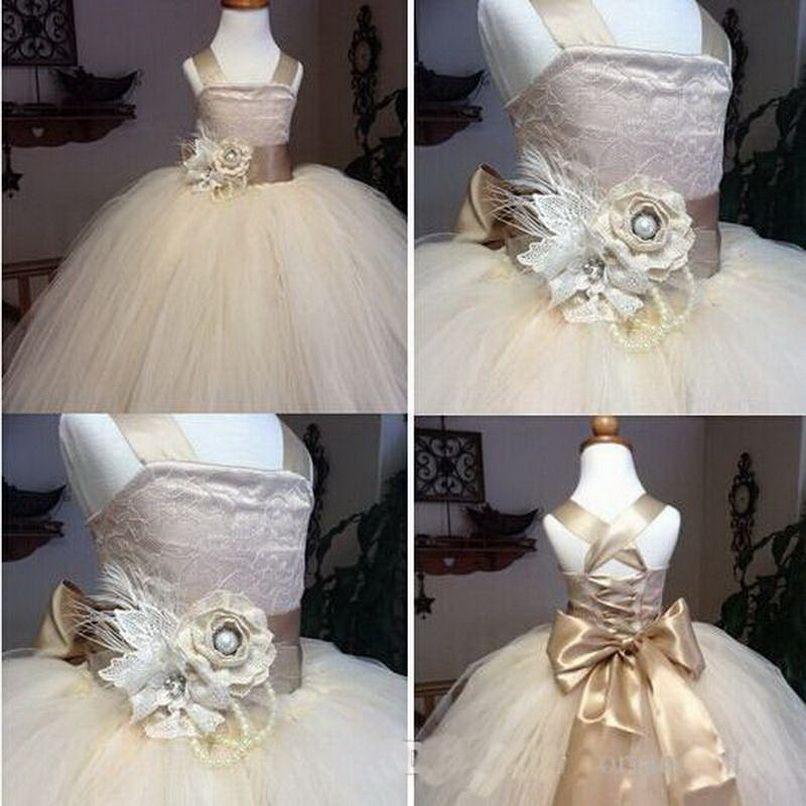 Cordón de la vendimia champán rústico del desfile de la muchacha de los vestidos de correas espaguetis vestido de fiesta de tul suave y esponjosa flor del vestido de los cabritos de la muchacha para la boda