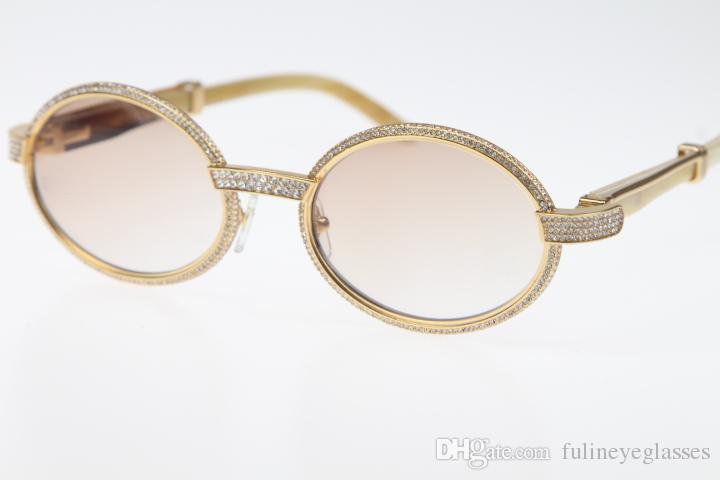 무료 배송 빈티지 화이트 정품 천연 안경 7,550,178 작은 큰 돌 선글라스 라운드 남여 디자이너 하이 엔드 안경 핫