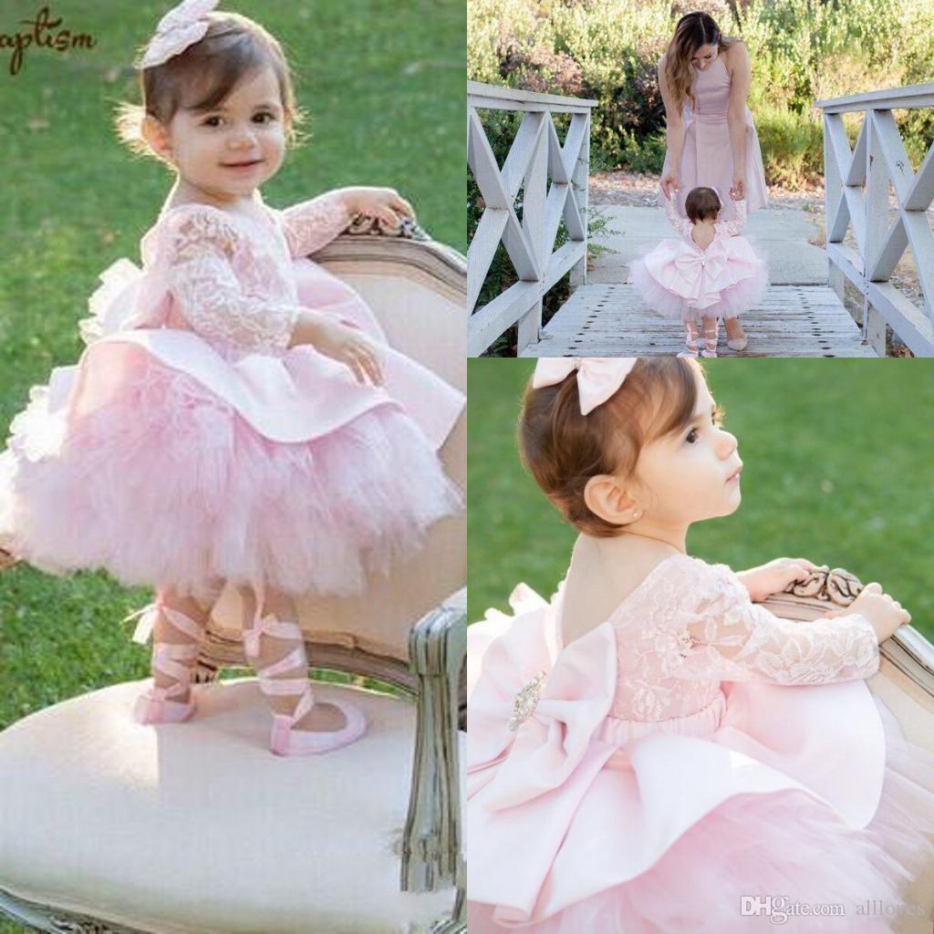 Lovely Pink Tutu Falda niña de las flores vestidos de encaje de manga larga arco de primera comunión Partido desfile de vestir niñas vestidos de bola AL3881