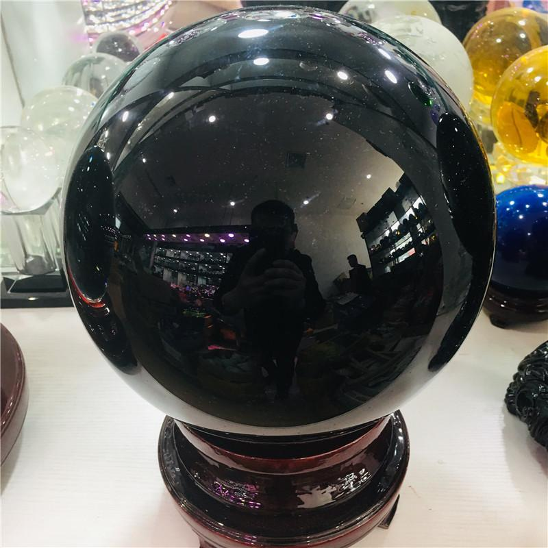 50-200mm Natural Black Obsidian Sphere Large Crystal Ball Healing Stone+pedestal T200117