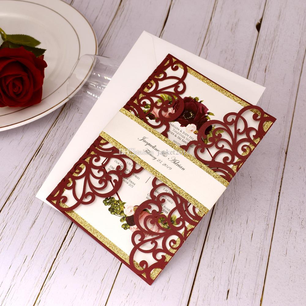 Marsala Glitzer-Laser-Schnitt-Hochzeits-Einladung mit Bauchband Burgunder Shimmer Blumeneinladungen für Quinceanera Geburtstagsparty-Einladungskarten