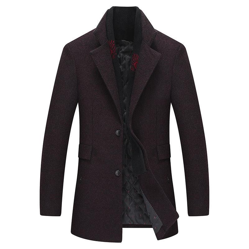 2019 новый стиль зимнее пальто мужская мода двойной воротник ветрозащитный утолщаются шерстяные пальто Мужская верхняя одежда зимняя куртка толстая теплая куртка