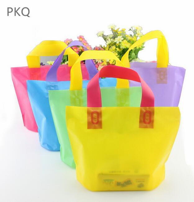 50pcs/Lot Supermarket Plastic Bags Transparent Shopping Bag with Handle Fruit Packaging Carry Out Bags gift packaging
