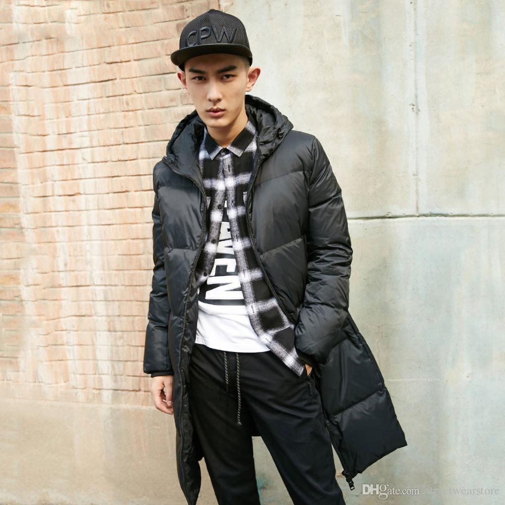 Erkekler Kış Uzun Kapşonlu Aşağı Ceket Uzun Parka Coat erkek giysisi