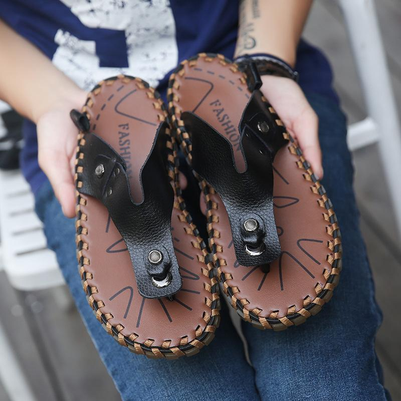 Men Shoes Flip Flops Summer Genuine Leather Slippers Rubber Sole Handmade Sewing Outdoor Beach Men Shoes