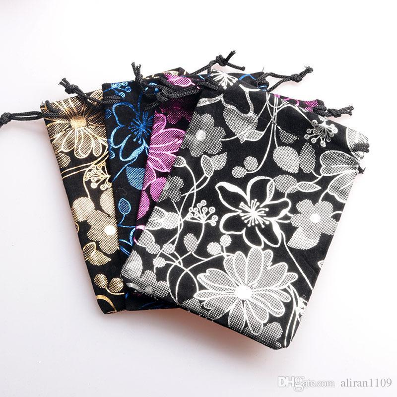 8x10cm Velvet Jewelry Pouches Flower Pattern Drawstring Gifts Bags Wedding Christmas Party Favors Packaging Sack Bag Pouch