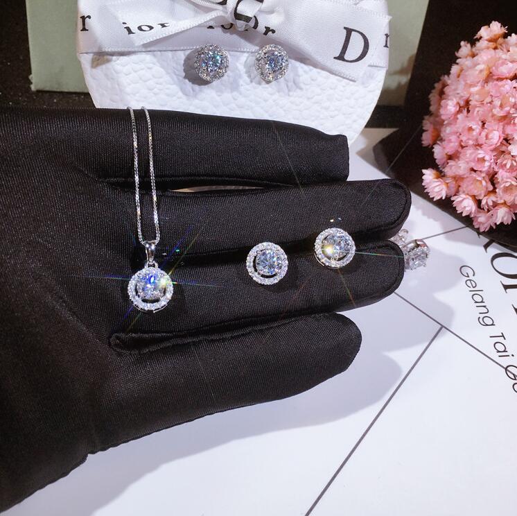 المجوهرات الفاخرة مجموعة جديدة وصول اليدوية 925 فضة جولة قطع الأبيض توباز تشيكوسلوفاكيا الماس أحجار الكريمة النساء قلادة عشيق القرط قلادة