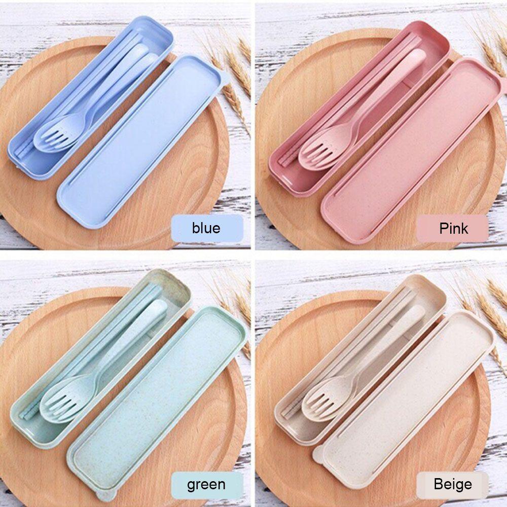 Ywbeyond - Set de palillos de tenedor de cuchara de paja de trigo portátil, vajilla, respetuoso con el medio ambiente, juego de cubiertos de camping reutilizables de 4 colores