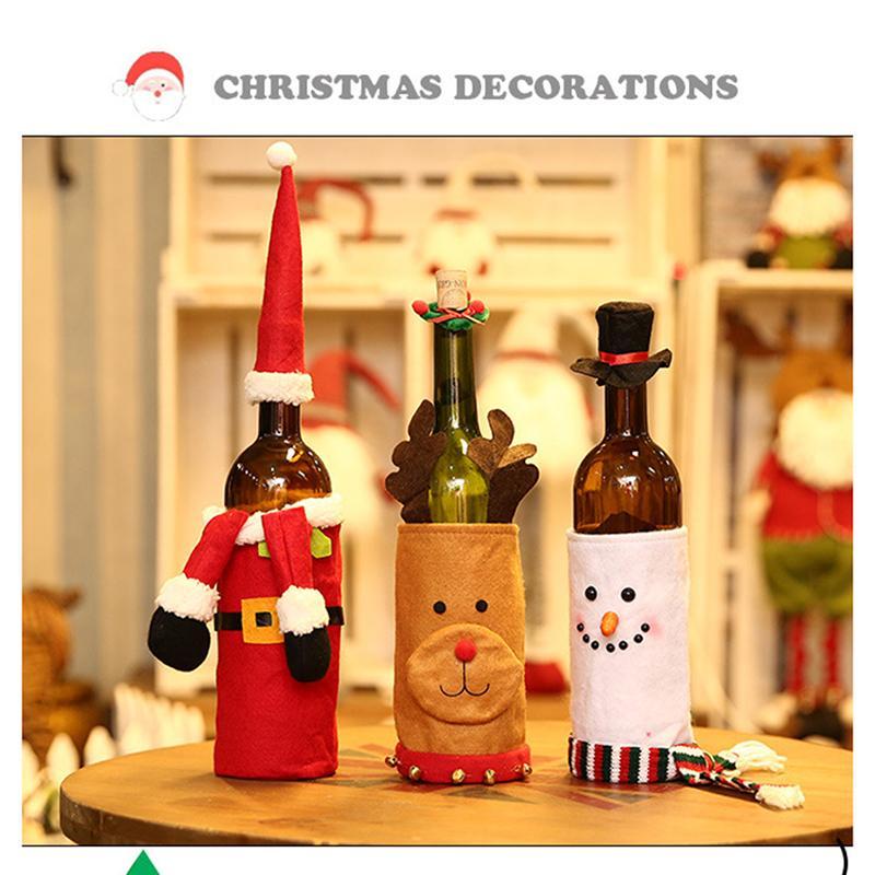Décoration de Noël Champagne Bouteille de vin de fête de Noël Porte-couverture Ornements