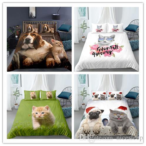 Nuevos productos únicos Animal Diseño gato y perro Priting cama determinada patrón único compás cubierta del Duvet suaves para niñas / niños / adultos