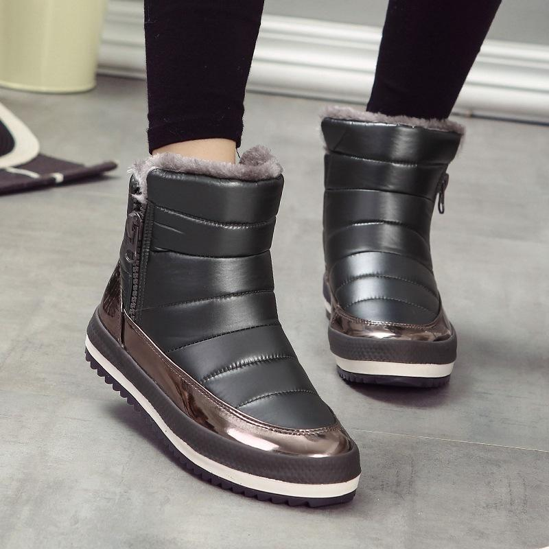 SHIDIWEIKE Bottes d'hiver russe pour femmes Fermeture à glissière latérale Chaussures d'hiver pour femme Bottes de neige pour femmes Confortable Chaussures M045