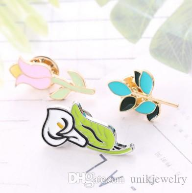 Jewelry Brooch Pins Unisex Calla ,Lily , Branches Jewelry Enamel Great Gifts Fashion Gold , Silver Plated Pin Gift