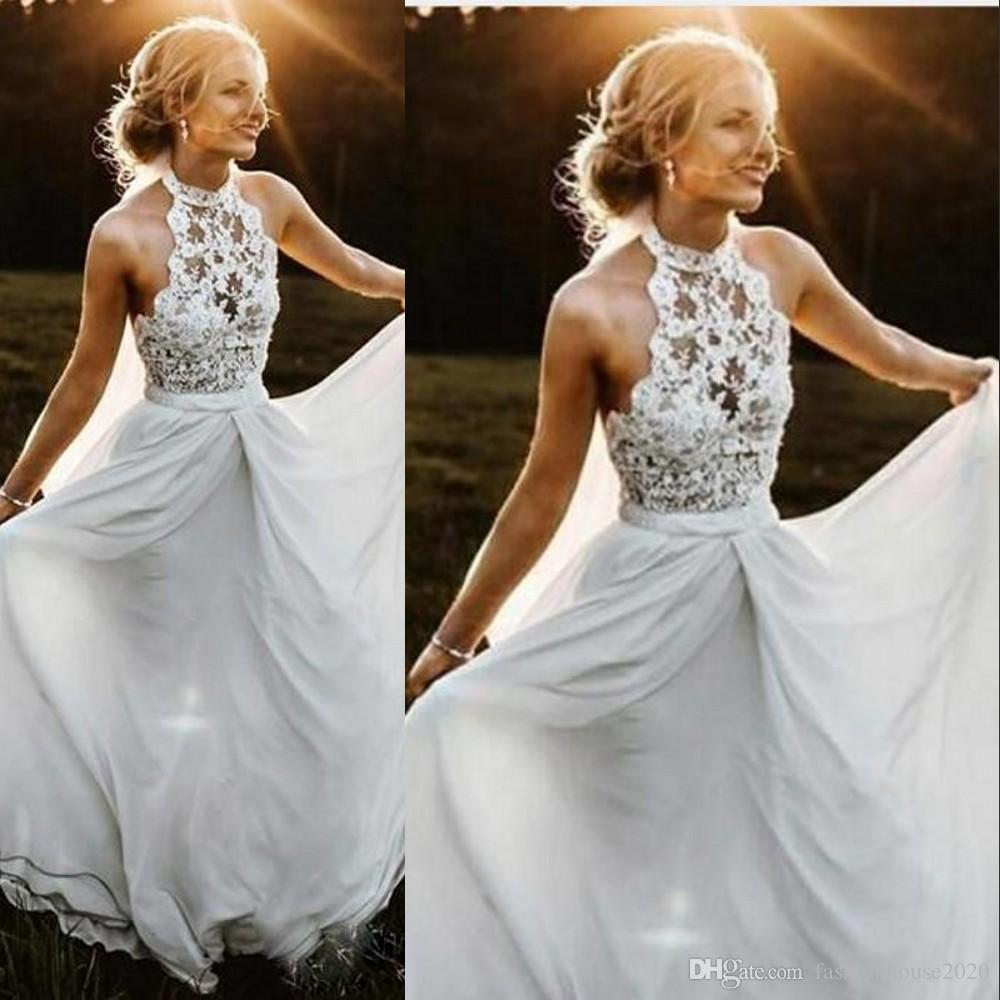 New Cheap Bohemian Beach A Line Wedding Dresses Halter Appliques Lace Chiffon Sweep Train Illusion Backless Long Formal Bridal Gowns