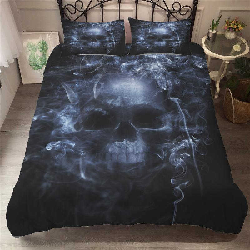 yi chu xin Skull Bedding Set Luxury 3D full size bed set Duvet Cover 3Pcs Home Textiles Comforter Bedding Sets Bedclothes