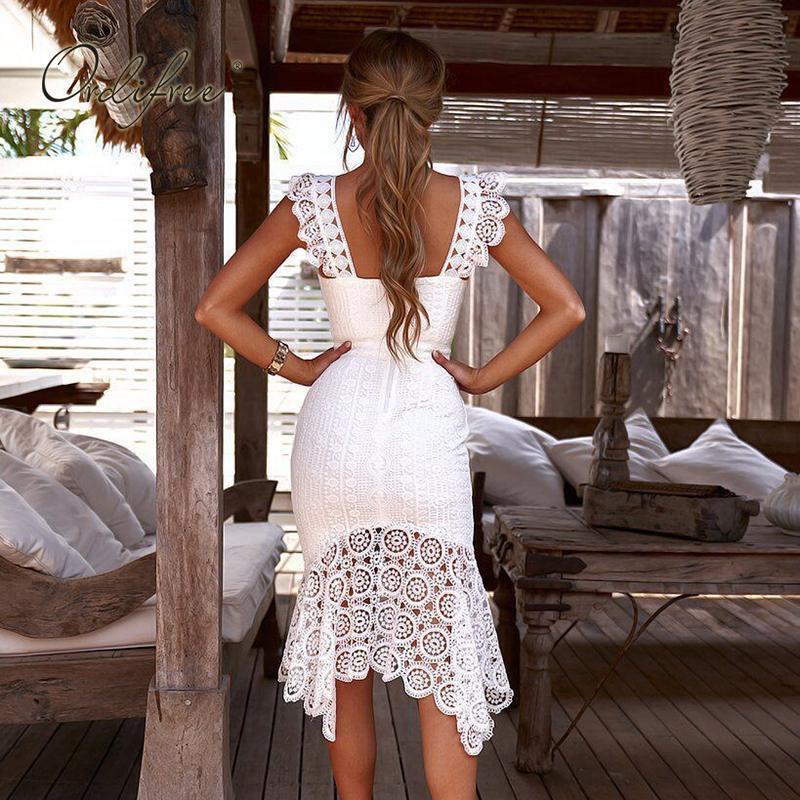 Ortiffree 2019 women's white lace evening dress pants elegant women sexy long dress sleeveless