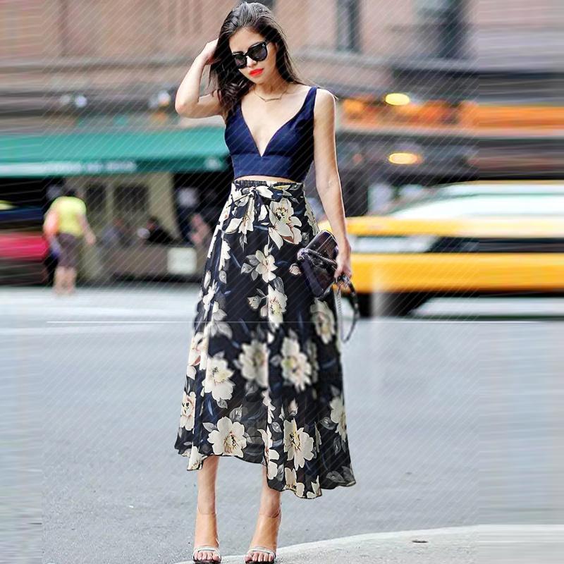 MarchWind Marka Artı boyutu Kadınlar şifon Etek Avrupa Moda Bow Saia Midi Astar Jupe Femme Lace Up Falda Mujer Yaz Çiçek Etek Baskı