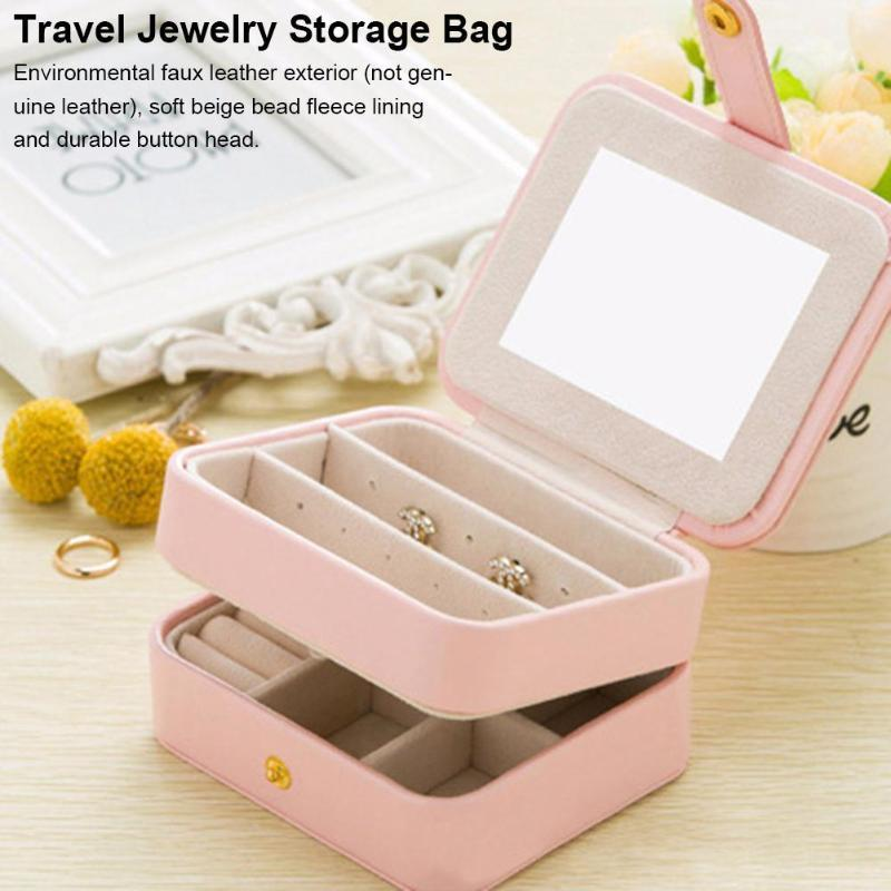 Syfinee ewelry Box Organizer Travel Jewel Case Portable Jewelry Box Storage Organizer Zipper Portable Women Display Travel Case