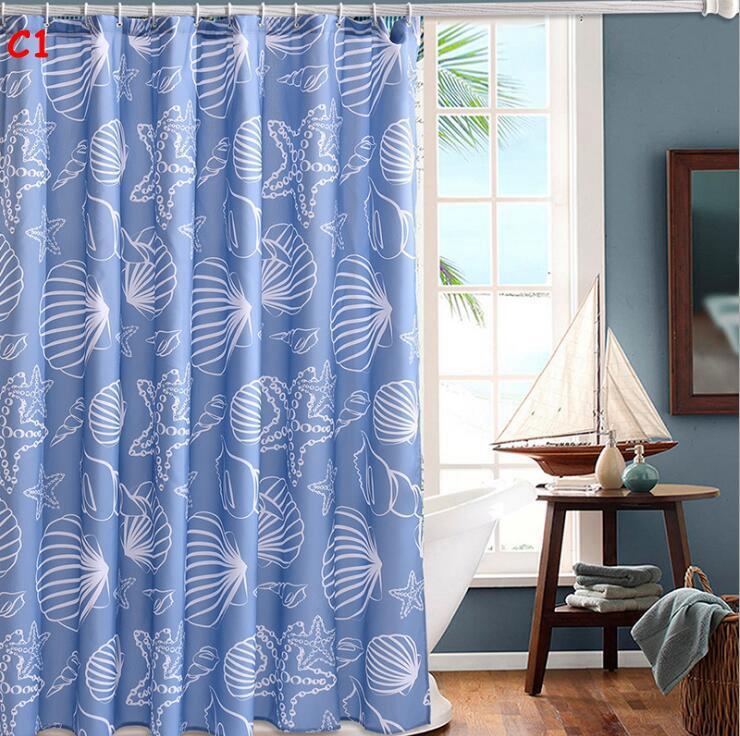 Bath Shower Curtain Cartoon Shell Fish Polyester Fabric Bathroom Curtain Waterproof Stripes Shower Curtains Washable 72X72 Inch