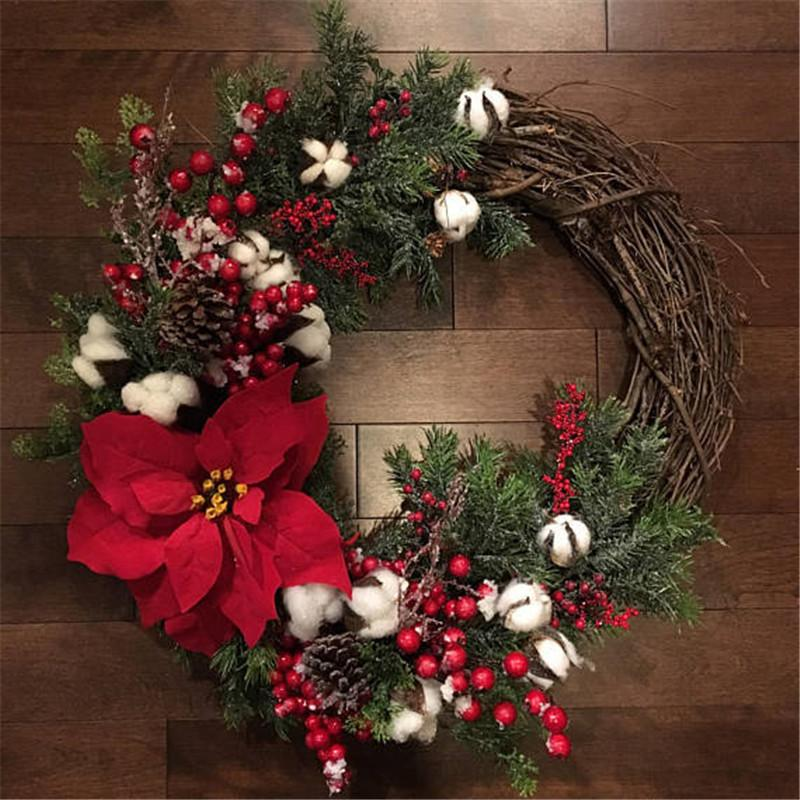 Christmas Wreaths.2019 30cm Christmas Wreath Door Hanging Artificial Plant Rattan Circle Wall Decoration Simulation Fake Flower Wedding Arrangement From Sophine12