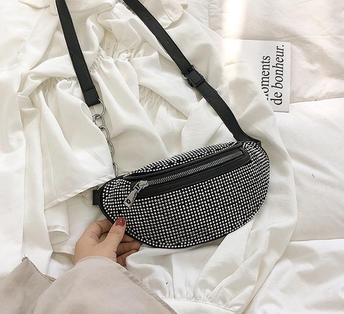Cinturón Bolsas cadena Rhinestone del flash del mensajero del hombro del pecho bolsas 2020 nuevo bolso femenino