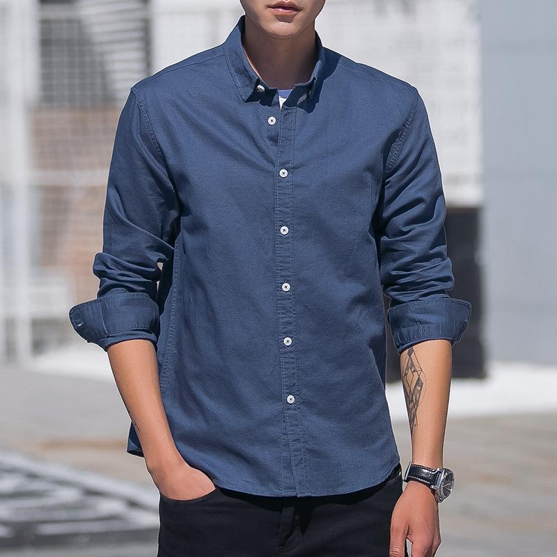 Linen Hawaiian Men's Long Shirts Sleeve Cufflinks Casual Slim Fit Mens Streetwear Clothing 2019 Men Formal Dress Summer Shirt