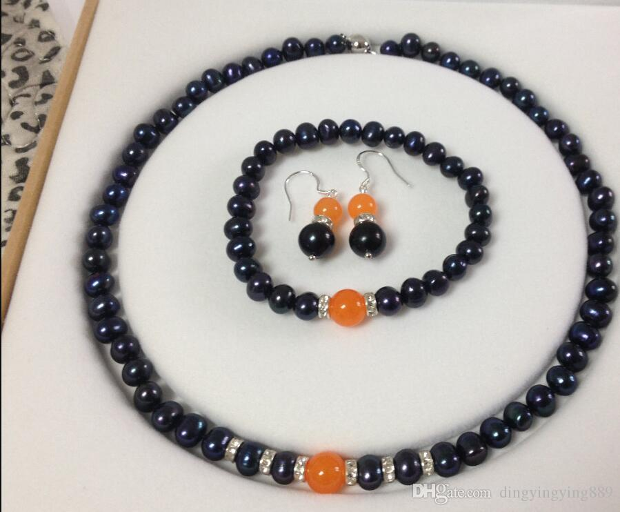 jewelry Black Akoya Cultured Pearl/Orange Jade bracelets necklace earrings set A056 (A0423)