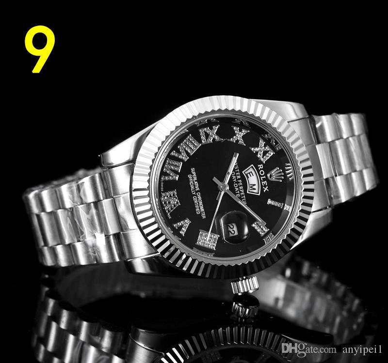 diamantes de lujo del reloj para hombre del diseñador de relojes suizos de marca de acero inoxidable reloj de pulsera de cuarzo de moda plata de Montre de luxe orologio gi