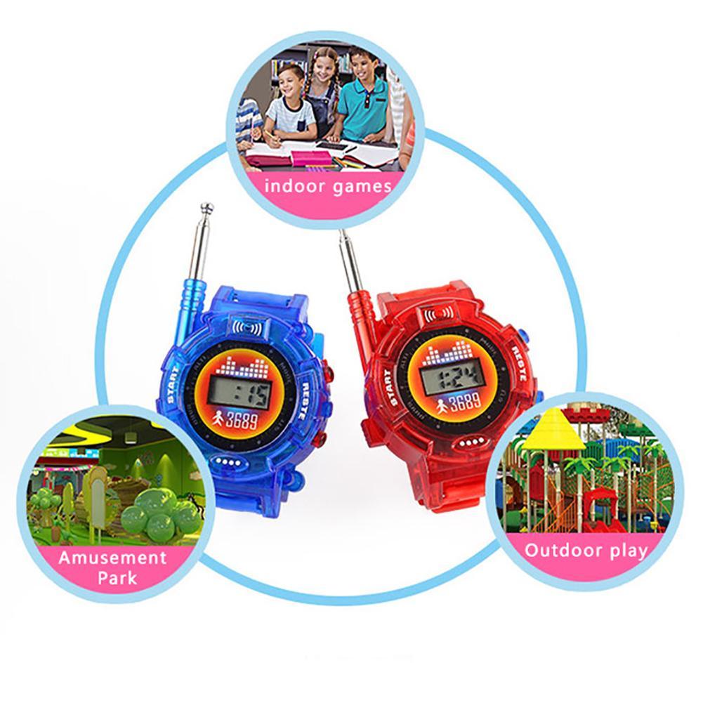 2pcs Talkie Walkie extérieur Montre Famille Enfants Jouet intelligent couleur aléatoire alimenté par batterie Portable Durable Interactive Intercom
