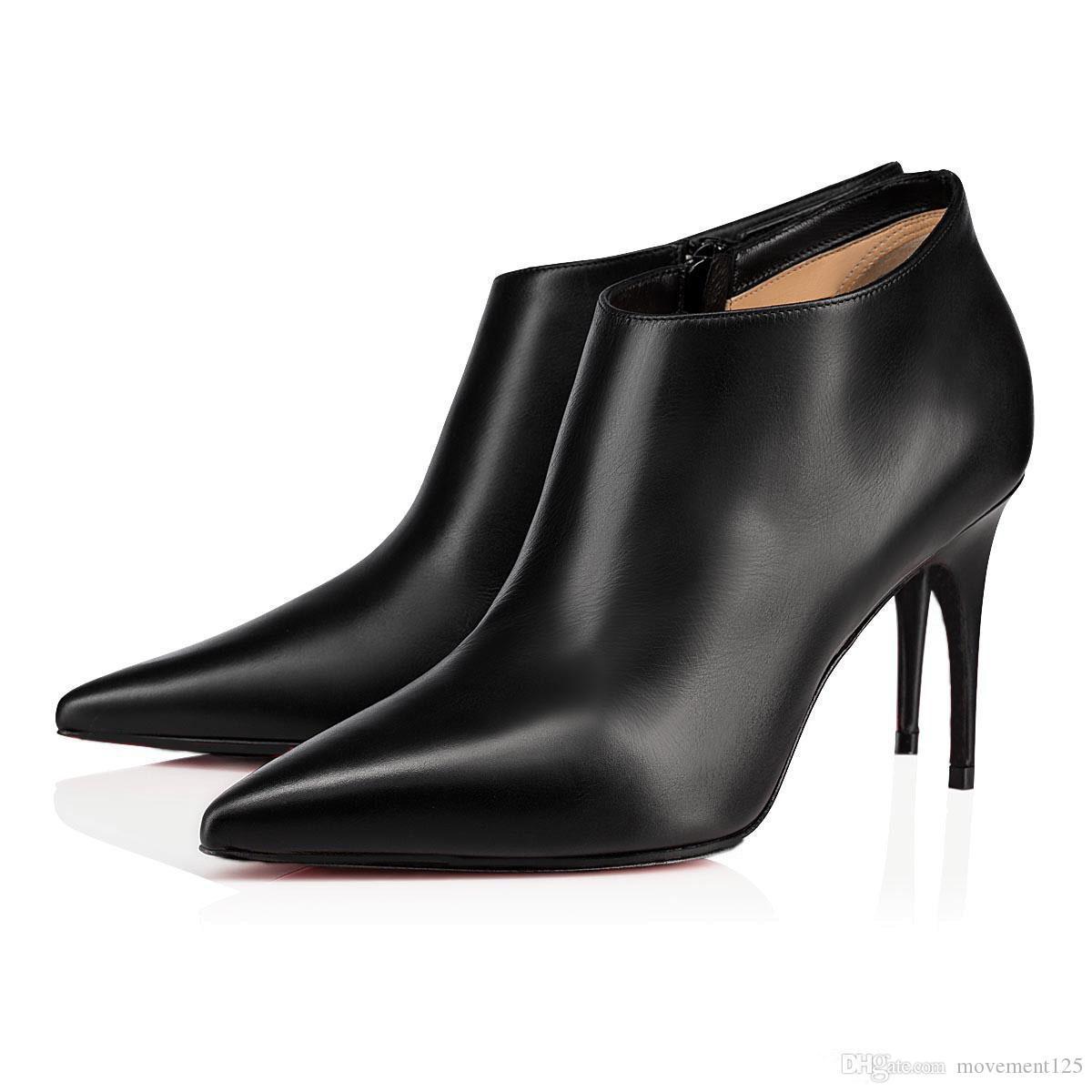 Moda Stiletto Düşük Kesim botları platformu Yüksek Topuklar Gorgona Kırmızı Alt kadınlar siyah çizme marka seksi sivri burun bayan kışlık botlar parti elbise