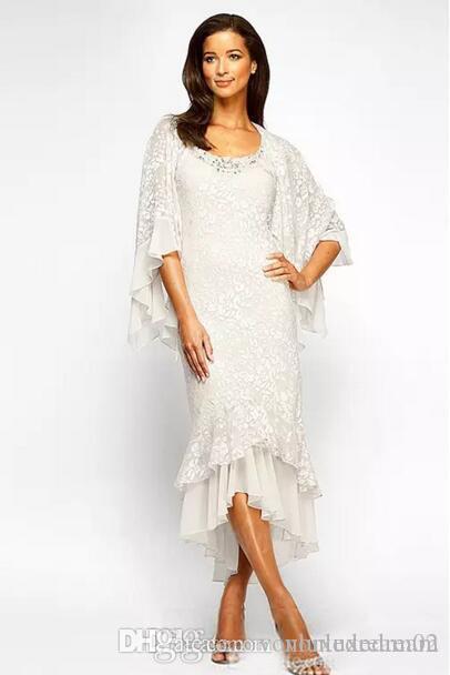 Herbst-Winter-Spitze-Mutter der Braut-Kleider Tee Länge Vintage-Schal Zurück Tiered Mantel Mutter Bräutigam Kleid nach Maß