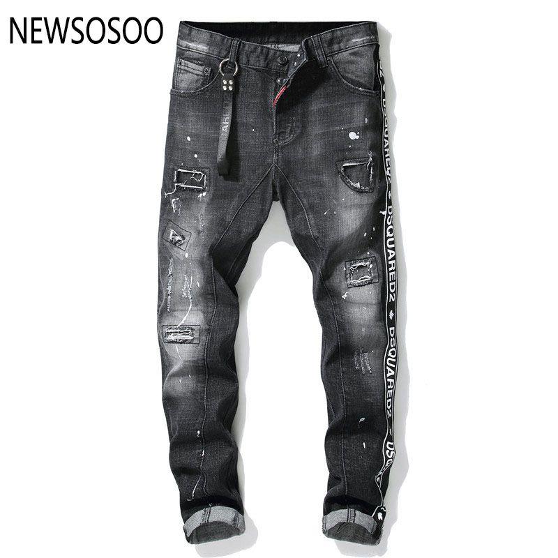 Europäische amerikanische Art Mensjeans l Männer gerade Denimhose Reißverschluss Patchwork dünne schwarze Jeans für Männer