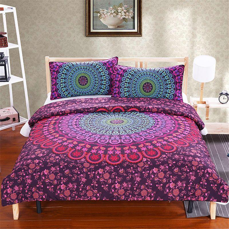 Bohem Stili Mandala Yatak Seti Kraliçe Yumuşak Yatak Örtüsü Dimi Baskı Nevresim Set ile Yastık Kılıfı 3 adet Yatak Set Ev