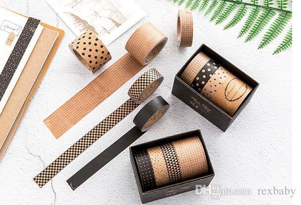 2019 Nuevo 3 + 1 unids / set Vintage Grid Dot Twill Washi Tape Decoración de bricolaje para Scrapbooking Masking Tape Office Office Supply Escolar 2016