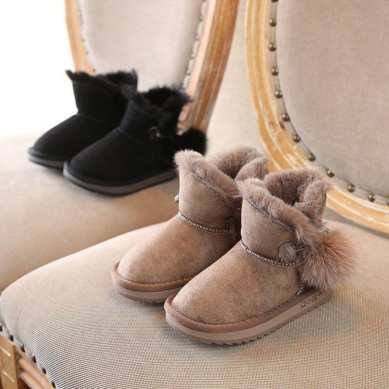 Новые детские хлопчатобумажные туфли Норка волосы горный хрусталь грелка для ног девушки зимние снегоступы мягкое дно против скольжения 1-3-6 лет