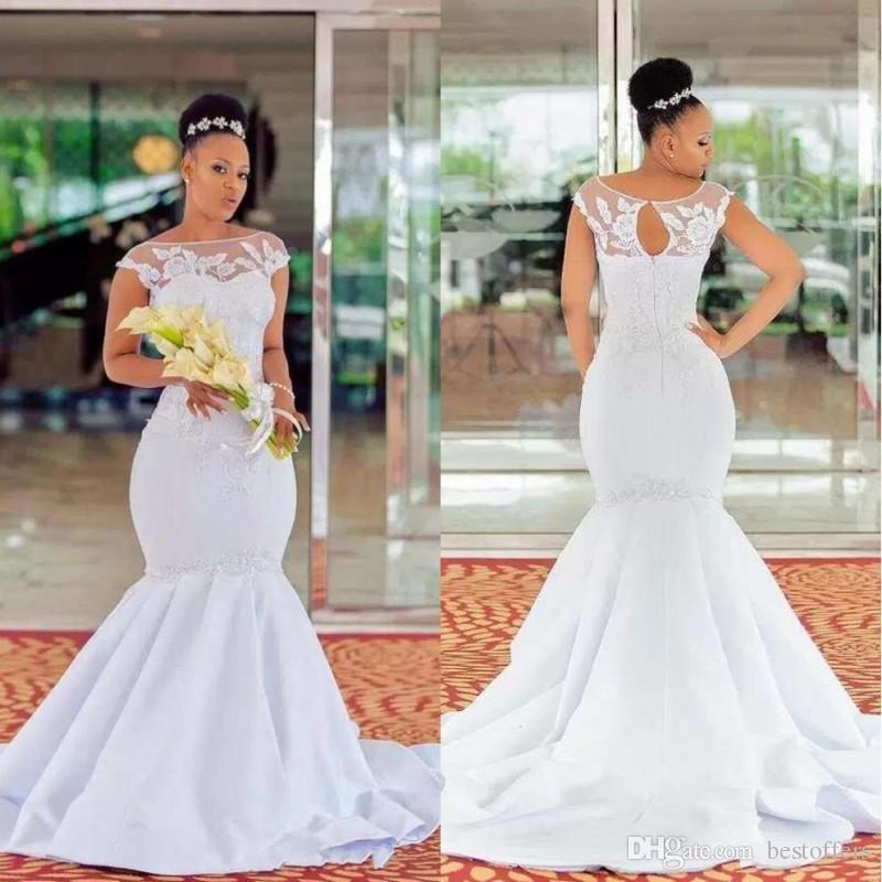 African Black Girls Mermaid Wedding Dresses 2019 Vestidos De Novia Bateau  Cap Sleeves Open Back Plus Size Bridal Wedding Gowns Ivory Wedding Dress