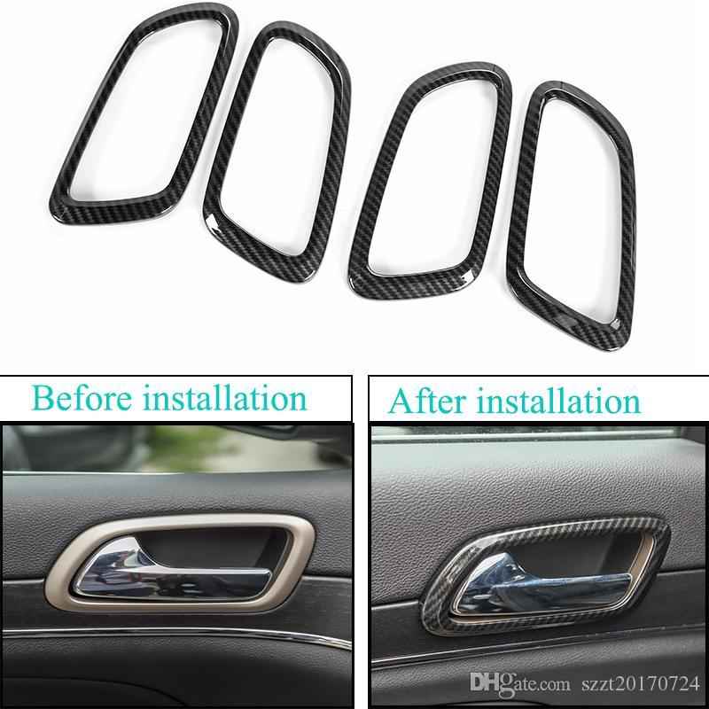 Accesorios de fibra de carbono ABS puerta interior del depósito anular Decorativo Para Grand Cherokee 2011+ Auto Accesorios Exterior