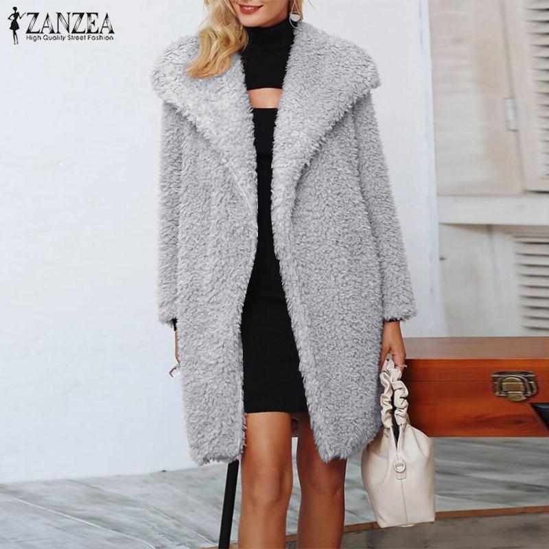 ZANZEA зима Плюшевые Пушистые пальто женщин отворотом шеи Открыта передняя Искусственный мех Теплые куртки Твердая с длинным рукавом Пальто вскользь Outwear