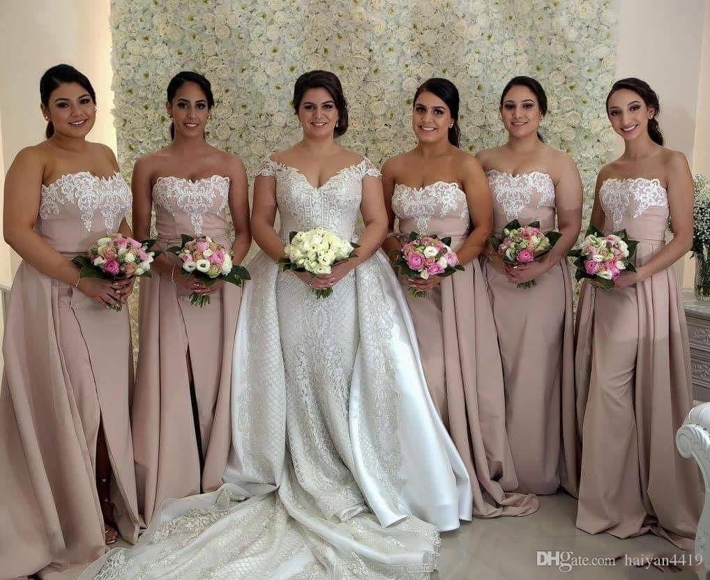 2019 New Arabic Mermaid Bridesmaid Dresses Sweetheart Lace Appliques Beaded Sleeveless Split Overskirts Plus Size Party Maid of Honor Gowns