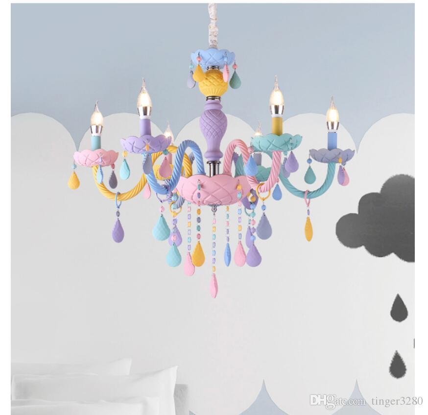 Livraison gratuite Lustre ColorCrystal Macaron Suspension Enfants Chambre Lampe Creative Vitrail Fantaisie Luster Luminaire
