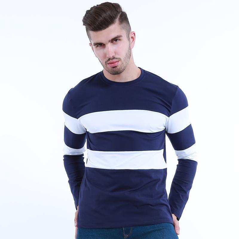 O Collo a righe T shirt Spandex Nuovo Autunno Inverno Mens maniche lunghe T-shirt per Uomo Abbigliamento Uomo Trend formato M-3XL