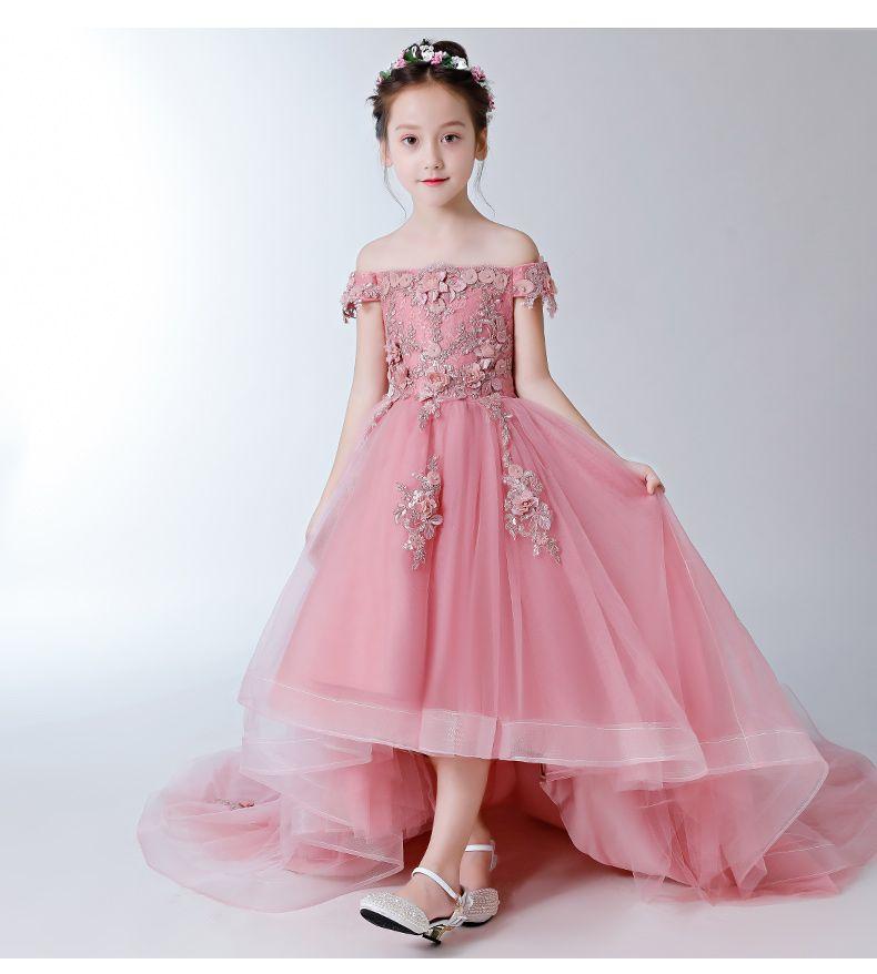 С плеча девушки театрализованное день рождения платье из бисера аппликации цветы девушка платье принцессы пушистые дети Первое причастие платья
