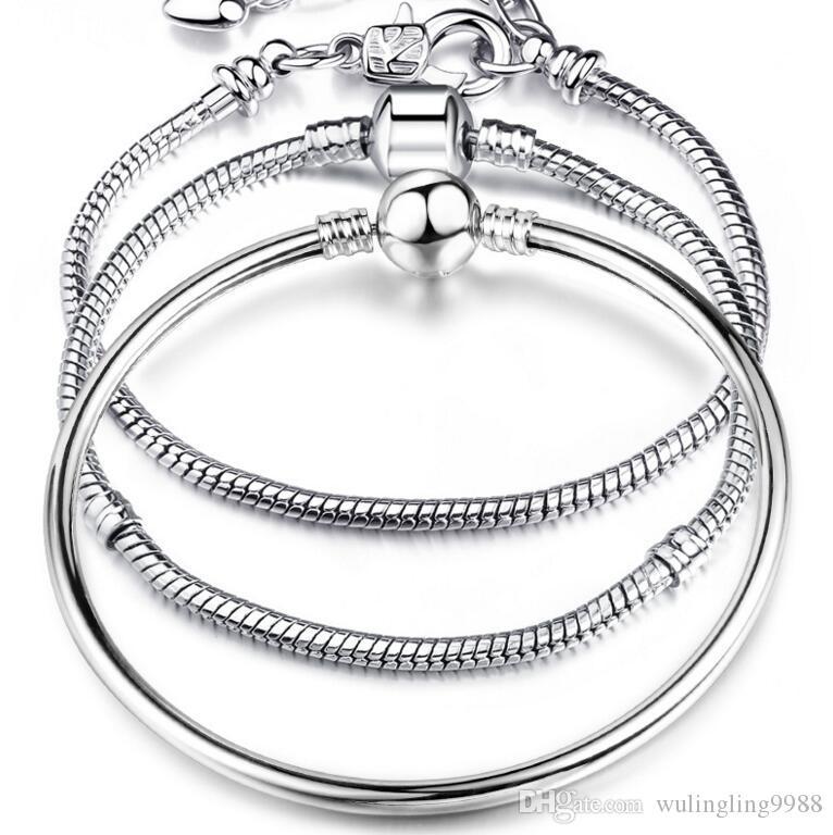 Шарм браслеты стерлингового серебра 925 3 мм змея цепи Fit Pandora подвески из бисера браслет ювелирные изделия DIY подарок для мужчин женщин 7 стили