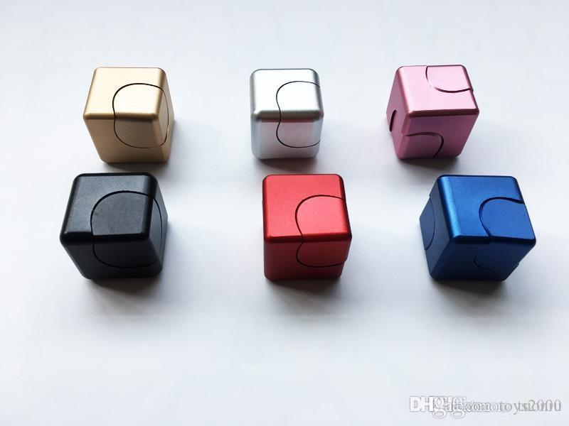 NEW Metal Fidget Cube aluminum Alloy Spinner hand cubes Square Alloy Finger Decompression spinners Anxiety Beyblade Anti Stress Toys
