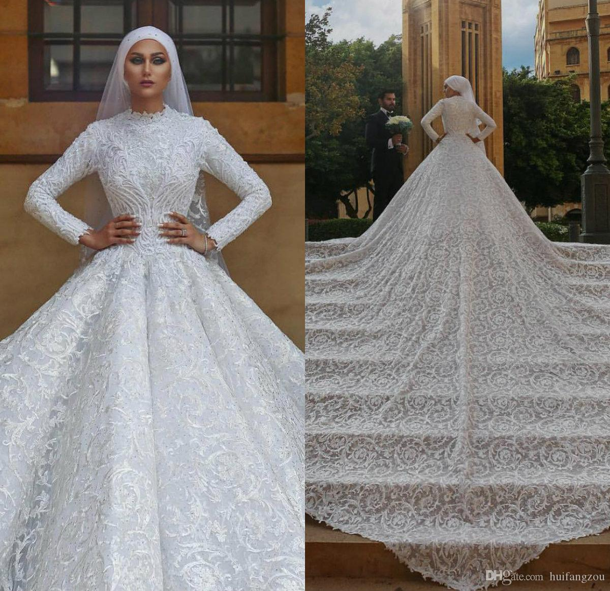 Discount Luxury Muslim Wedding Dresses Lace Floral Appliqued Court Train High Collar Modest Wedding Dress Custom Plus Size Long Sleeve Bridal Gowns Designer Bridal Dresses Gown For Wedding From Huifangzou 314 37 Dhgate Com